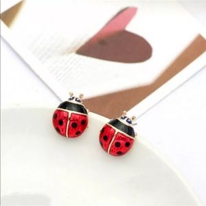 Jewelry - Red & Gold Lady Bug Fashion Earrings